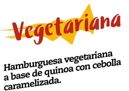 hamburguesa vegetariana, hamburguesa vegetariana a base de quinoa con cebolla caramelizada