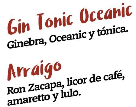 gin tonic oceanic, ginebra, oceanic y tonica, arraigo, ron zacapa, licor de cafe, amaretto y lulo