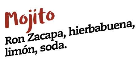 mojito, ron zacapa, hierbabuena, limon, soda, bogota beer company cocteles