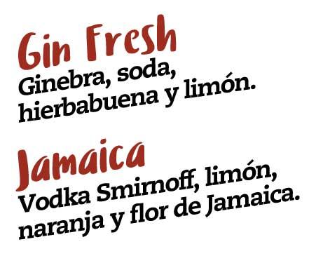 gin fresh, ginebra, soda, hierbabuena y limon, jamaica, vodka smirnoff, limon, naranja y flor de jamaica
