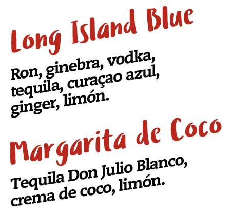long island blue, ron, ginebra, vodka, tequila, curacao azul, ginger, limon, margarita de coco, tequila don julio blanco, crema de coco, limon